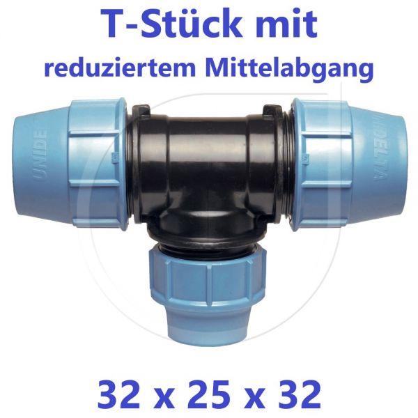UNIDELTA Klemmverbinder  T-Stück 90° reduziert 32 x 25 x 32