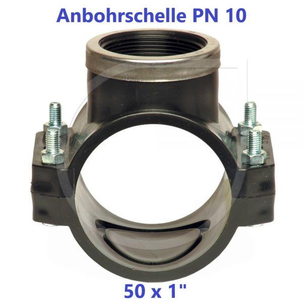 """Schwarze Anbohrschelle mit Verstärkung (PN10) 50 x 1"""" Innengewinde"""