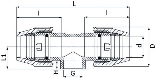 """UNIDELTA Klemmverbinder T-Stück mit Innengewinde 50 x 11/4"""" x 50 DeltOne Technische Zeichnung"""
