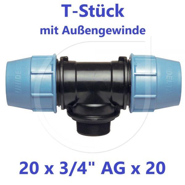 """UNIDELTA Klemmverbinder T-Stück mit Außengewinde 20 x 3/4"""" x 20"""