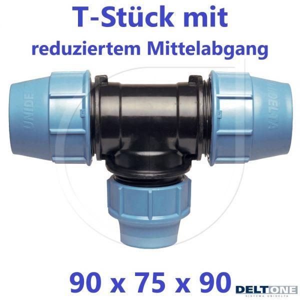 UNIDELTA Klemmverbinder  T-Stück 90° reduziert 90 x 75 x 90 DeltOne