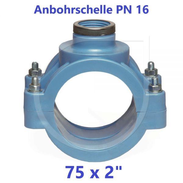 """UNIDELTA Anbohrschelle mit Verstärkung PN16 Blau 75 x 2"""""""