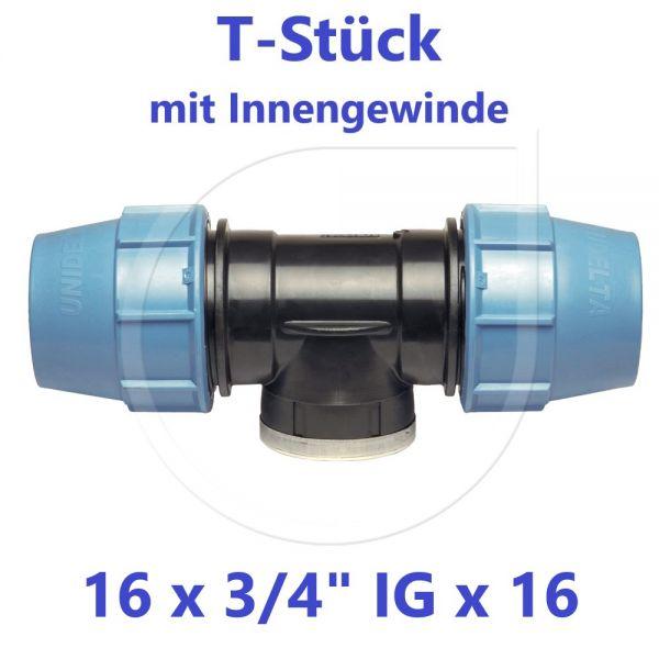 """UNIDELTA Klemmverbinder T-Stück mit Innengewinde 16 x 3/4"""" x 16"""