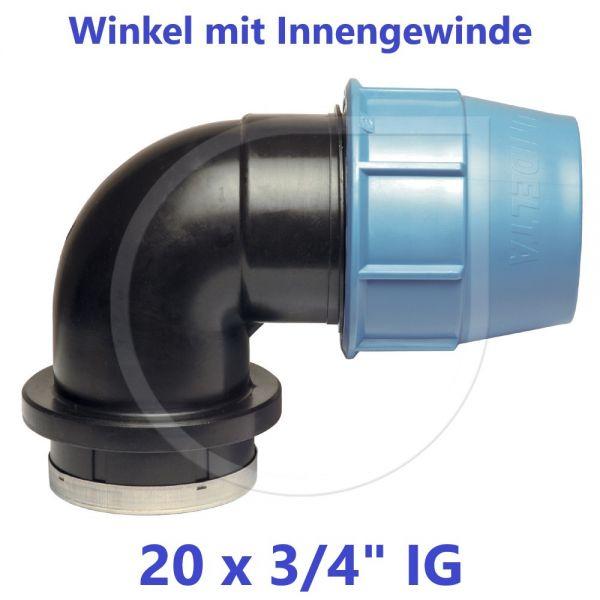 """UNIDELTA Klemmverbinder Winkel mit Innengewinde 20 x 3/4"""""""