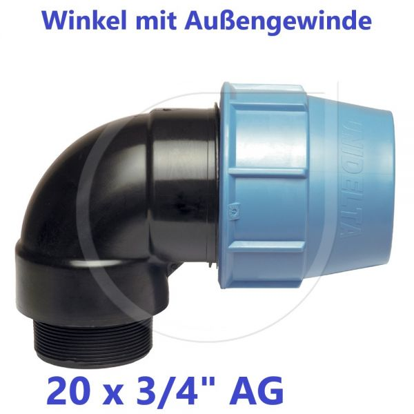 """UNIDELTA Klemmverbinder Winkel mit Außengewinde 20 x 3/4"""""""