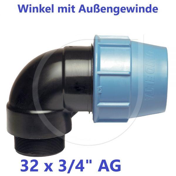 """UNIDELTA Klemmverbinder Winkel mit Außengewinde 32 x 3/4"""""""