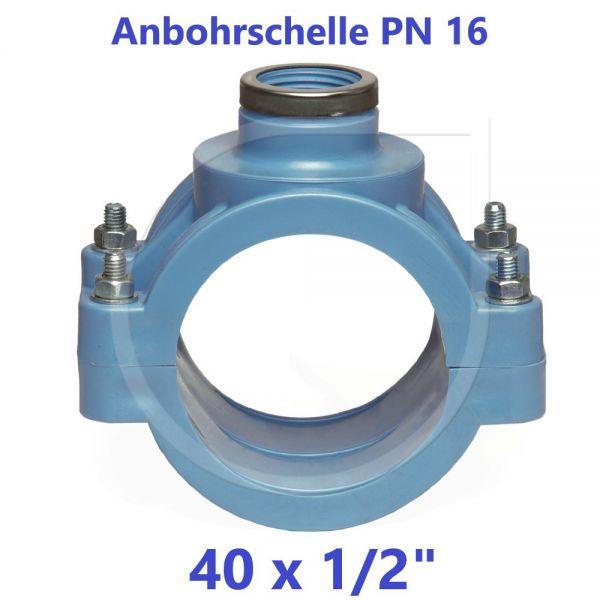 """UNIDELTA Anbohrschelle mit Verstärkung PN16 Blau 40 x 1/2"""""""