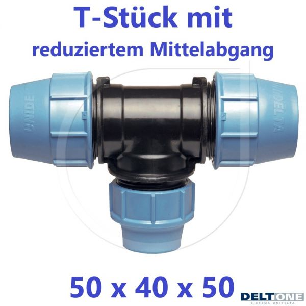 UNIDELTA Klemmverbinder T-Stück 90° reduziert 50 x 40 x 50
