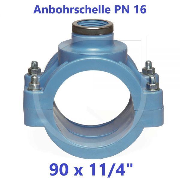 """UNIDELTA Anbohrschelle mit Verstärkung PN16 Blau 90 x 11/4"""""""