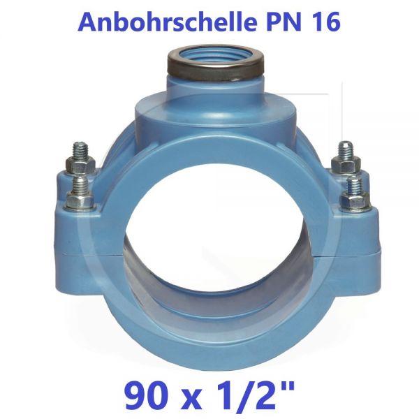"""UNIDELTA Anbohrschelle mit Verstärkung PN16 Blau 90 x 1/2"""""""