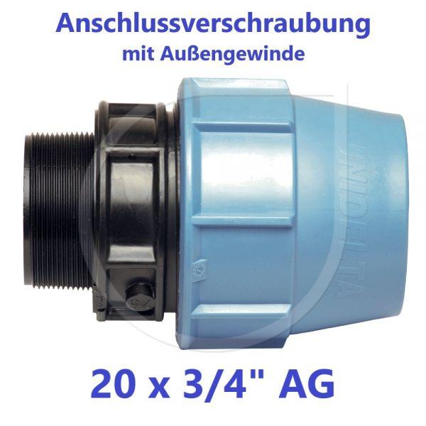 """UNIDELTA Klemmverbinder Anschlussverschraubung mit Außengewinde 20 x 3/4"""""""