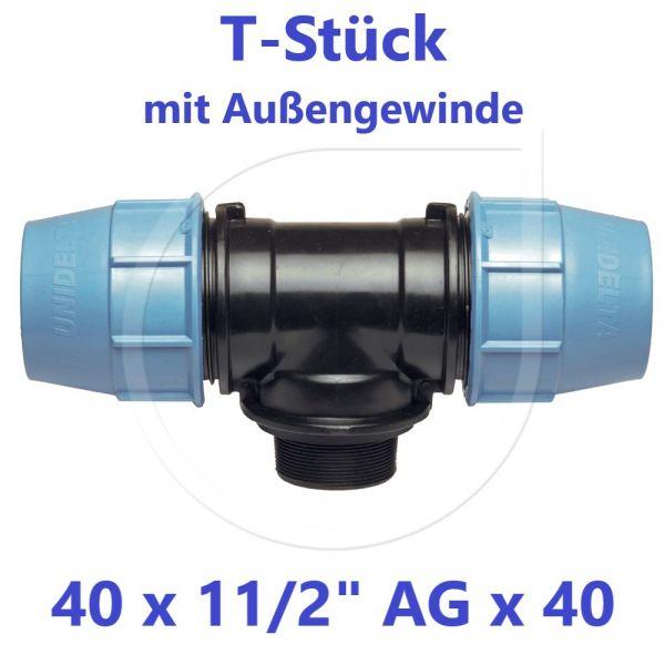 """UNIDELTA Klemmverbinder T-Stück mit Außengewinde 40 x 11/2"""" x 40"""