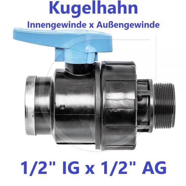 """UNIDELTA Klemmverbinder Kugelhahn Innengewinde x Außengewinde 1/2"""" IG x 1/2"""" AG"""