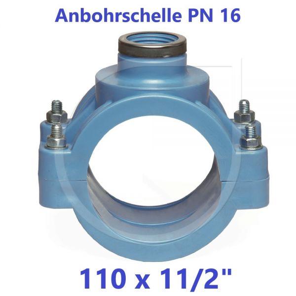 """UNIDELTA Anbohrschelle mit Verstärkung PN16 Blau 110 x 11/2"""""""