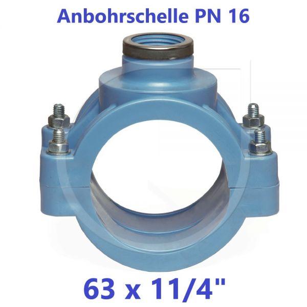 """UNIDELTA Anbohrschelle mit Verstärkung PN16 Blau 63 x 11/4"""""""