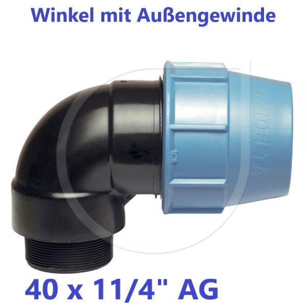 """UNIDELTA Klemmverbinder Winkel mit Außengewinde 40 x 11/4"""""""