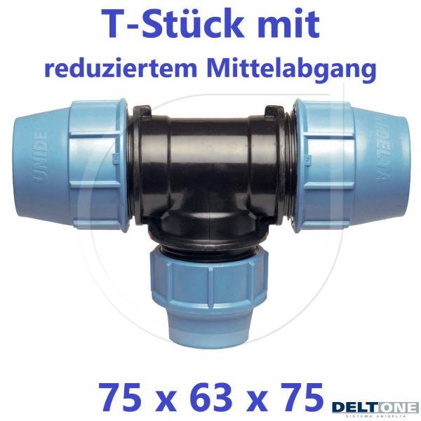 UNIDELTA Klemmverbinder  T-Stück 90° reduziert 75 x 63 x 75 DeltOne