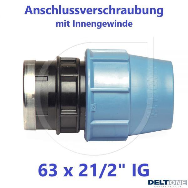 """UNIDELTA Klemmverbinder Anschlussverschraubung mit Innengewinde 63 x 21/2"""" DeltOne"""