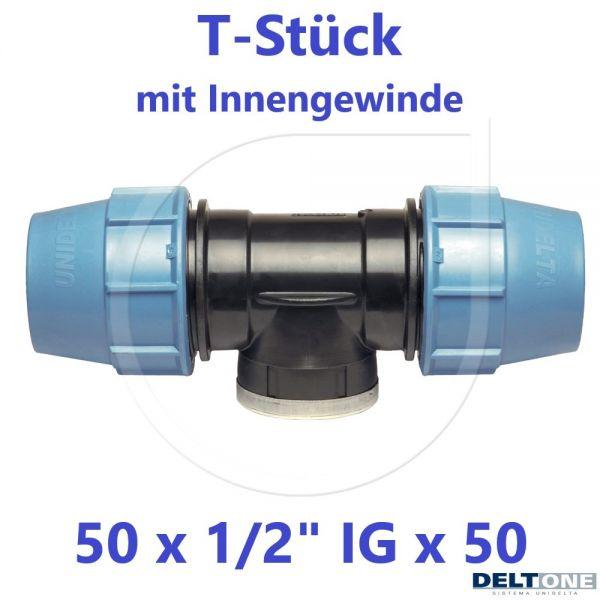 """UNIDELTA Klemmverbinder T-Stück mit Innengewinde 50 x 1/2"""" x 50 DeltOne"""