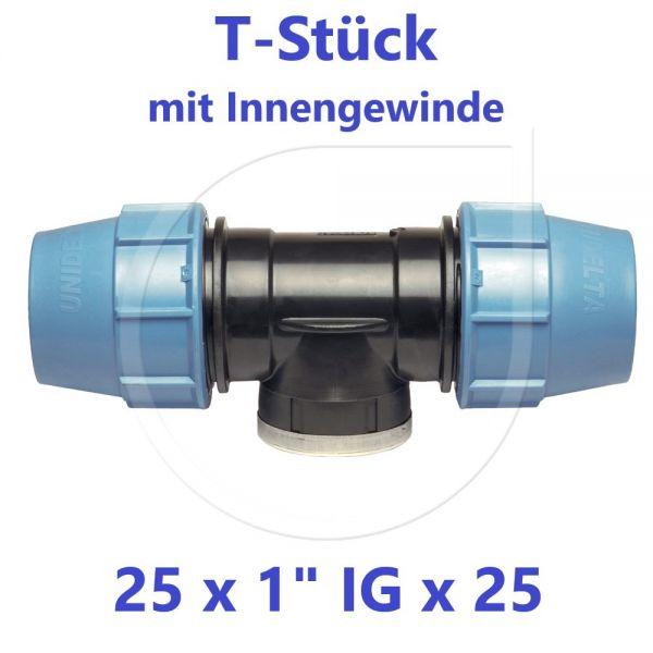 """UNIDELTA Klemmverbinder T-Stück mit Innengewinde 25 x 1"""" x 25"""