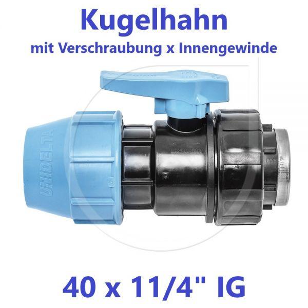 """UNIDELTA Klemmverbinder  Kugelhahn Klemm x Innengewinde 40mm x 11/4"""" IG"""