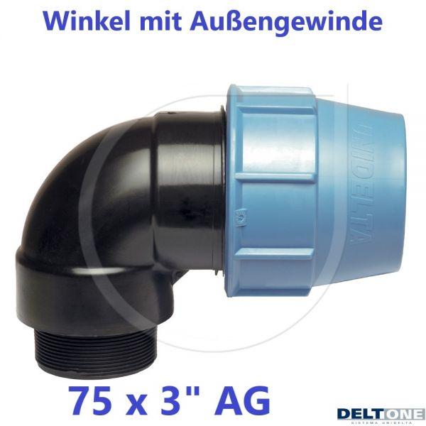 """UNIDELTA Klemmverbinder Winkel mit Außengewinde 75 x 3"""" DeltOne"""