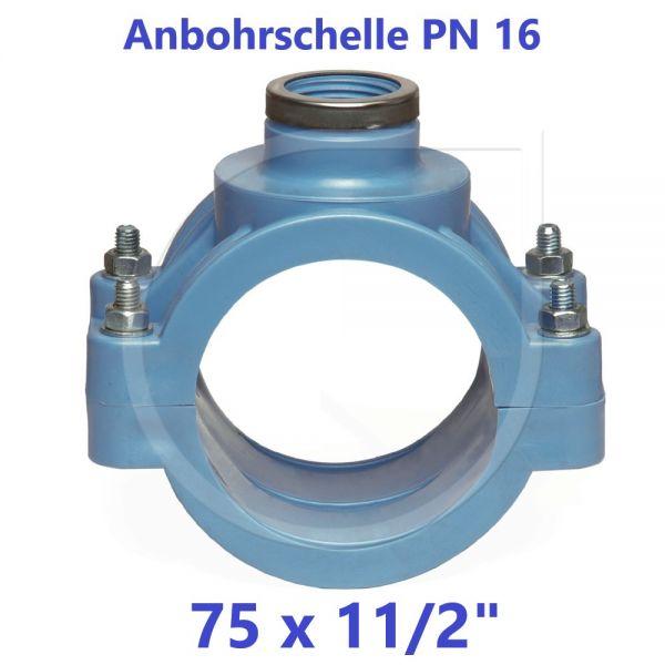 """UNIDELTA Anbohrschelle mit Verstärkung PN16 Blau 75 x 11/2"""""""