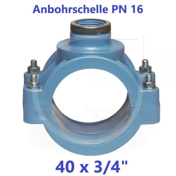 """UNIDELTA Anbohrschelle mit Verstärkung PN16 Blau 40 x 3/4"""""""