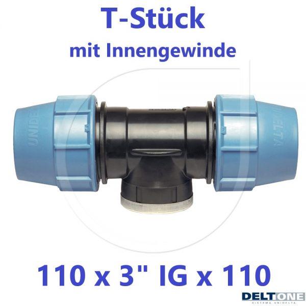 """UNIDELTA Klemmverbinder T-Stück mit Innengewinde 110 x 3"""" x 110 DeltOne"""