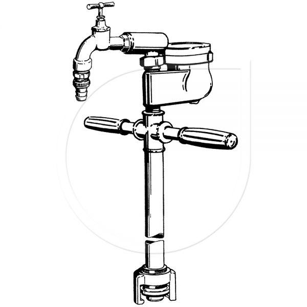 Entnahmestandrohr mit Wasserzähler und Auslaufventil