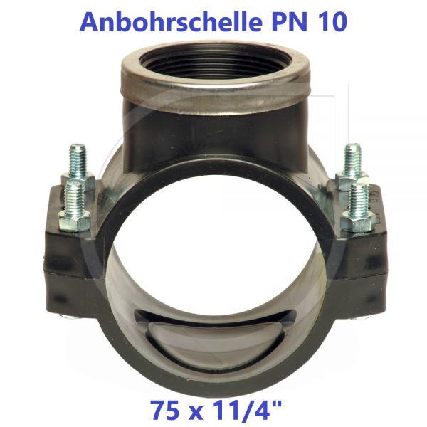 """Schwarze Anbohrschelle mit Verstärkung (PN10) 75 x 11/4"""" Innengewinde"""
