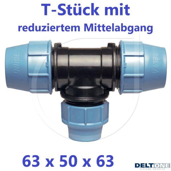 UNIDELTA Klemmverbinder T-Stück 90° reduziert 63 x 50 x 63 DeltOne