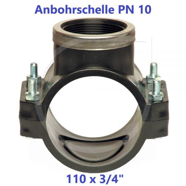"""Schwarze Anbohrschelle mit Verstärkung (PN10) 110 x 3/4"""" Innengewinde"""