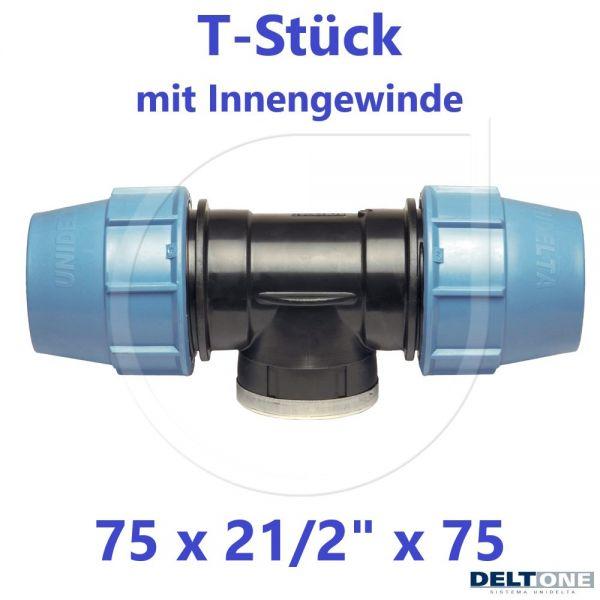 """UNIDELTA Klemmverbinder T-Stück mit Innengewinde 75 x 21/2"""" x 75 DeltOne"""