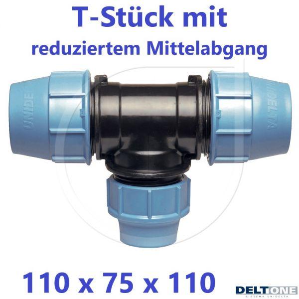 UNIDELTA Klemmverbinder T-Stück 90° reduziert 110 x 75 x 110 DeltOne