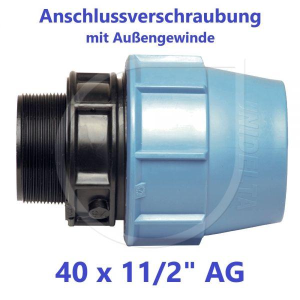 """UNIDELTA Klemmverbinder Anschlussverschraubung mit Außengewinde 40 x 11/2"""""""
