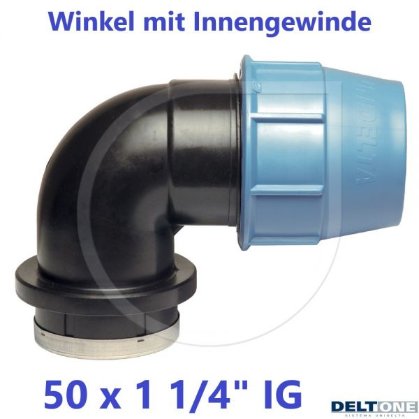 """UNIDELTA Klemmverbinder Winkel mit Innengewinde 50 x 11/4"""" DeltOne"""