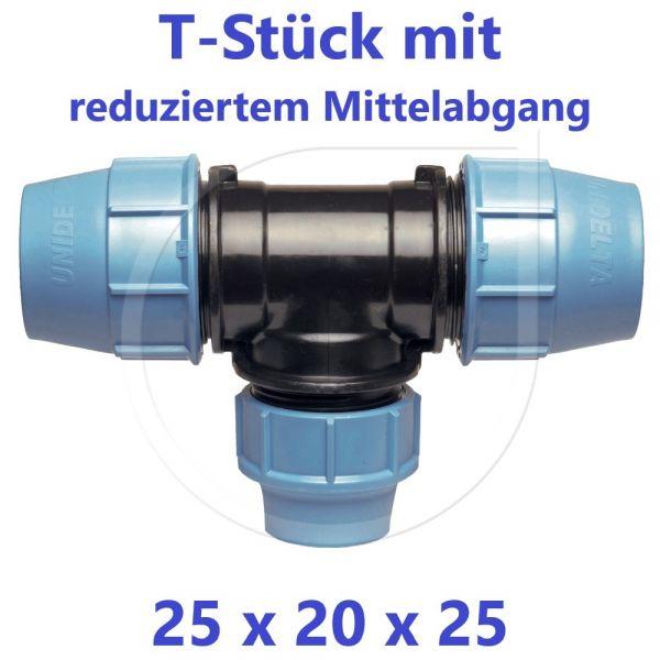 UNIDELTA Klemmverbinder  T-Stück 90° reduziert 25 x 20 x 25