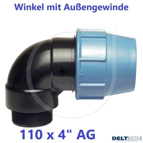 """UNIDELTA Klemmverbinder Winkel mit Außengewinde 110 x 4"""" DeltOne"""