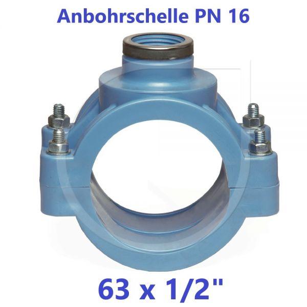 """UNIDELTA Anbohrschelle mit Verstärkung PN16 Blau 63 x 1/2"""""""