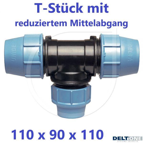 UNIDELTA Klemmverbinder  T-Stück 90° reduziert 110 x 90 x 110 DeltOne