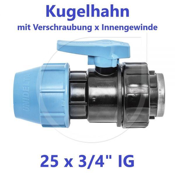 """UNIDELTA Klemmverbinder  Kugelhahn Klemm x Innengewinde 25mm x 3/4"""" IG"""