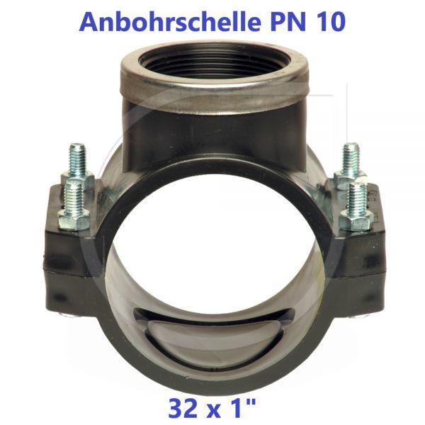 """Schwarze Anbohrschelle mit Verstärkung (PN10) 32 x 1"""" Innengewinde"""