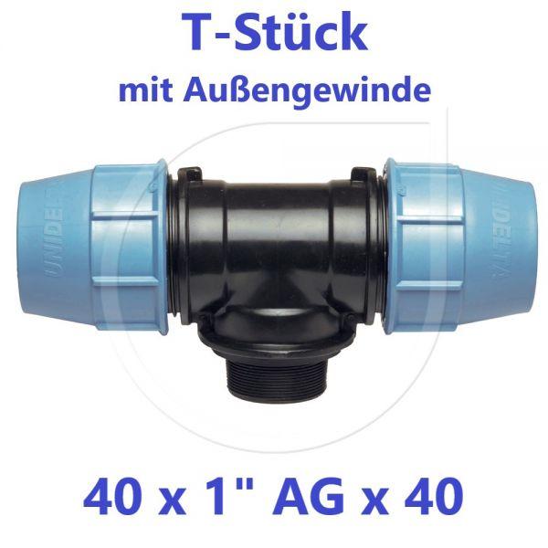"""UNIDELTA Klemmverbinder T-Stück mit Außengewinde 40 x 1"""" x 40"""