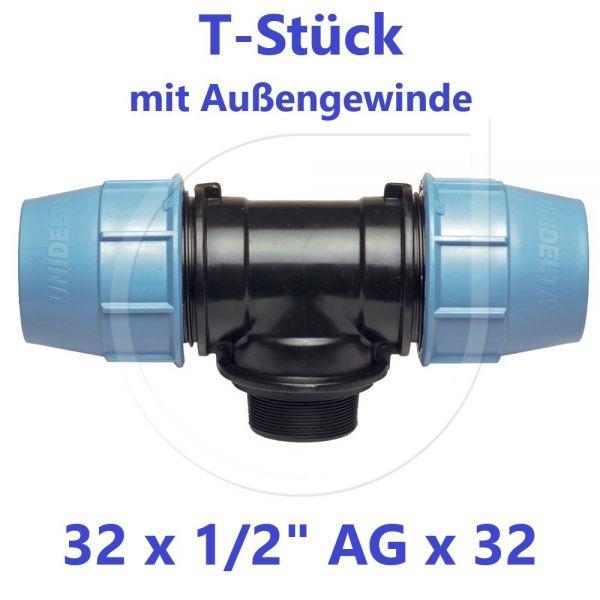 """UNIDELTA Klemmverbinder T-Stück mit Außengewinde 32 x 1/2"""" x 32"""
