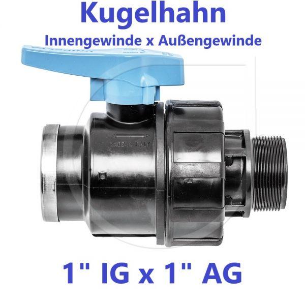 """UNIDELTA Klemmverbinder Kugelhahn Innengewinde x Außengewinde 1"""" IG x 1"""" AG"""