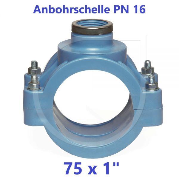 """UNIDELTA Anbohrschelle mit Verstärkung PN16 Blau 75 x 1"""""""