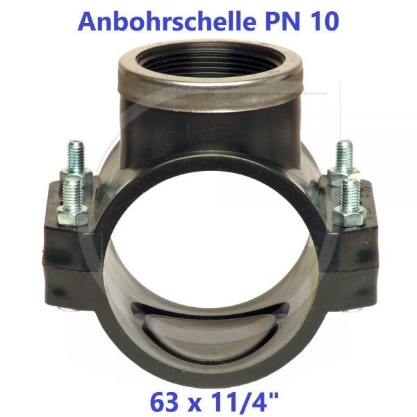 """Schwarze Anbohrschelle mit Verstärkung (PN10) 63 x 11/4"""" Innengewinde"""