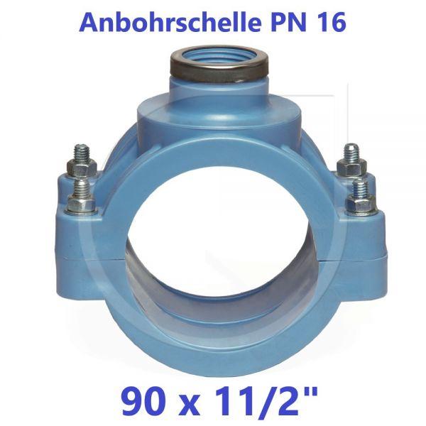 """UNIDELTA Anbohrschelle mit Verstärkung PN16 Blau 90 x 11/2"""""""