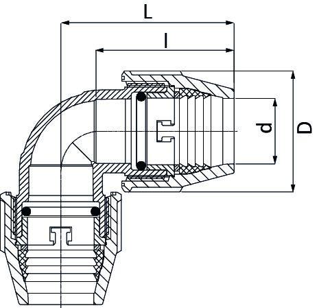 UNIDELTA Klemmverbinder 90° Winkel 75mm DN65 DeltOne Technische Zeichnung